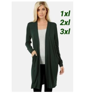 NEW Plus Women's Long Green Cardigan With Pockets